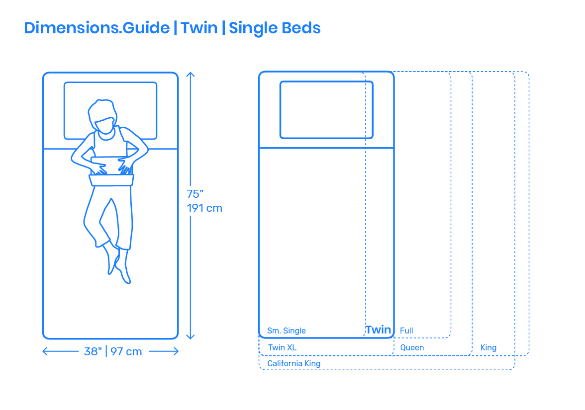 Twin Beds | Single Bed Dimensions & Drawings | Dimensions.com