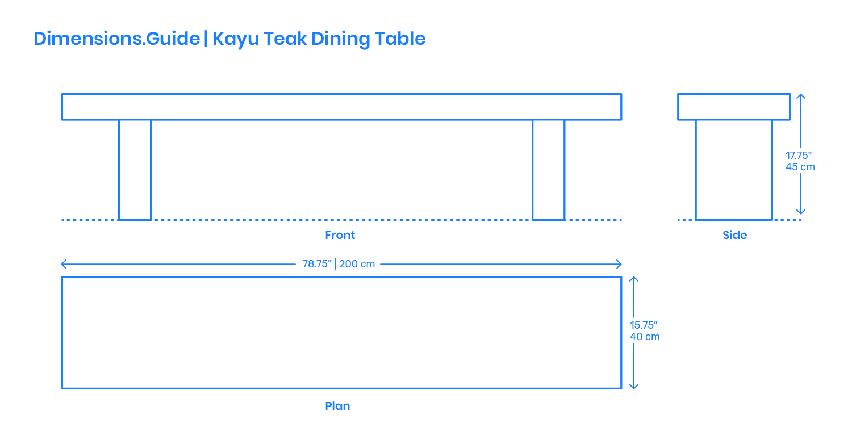 Kayu Teak Dining Bench Dimensions Amp Drawings Dimensions