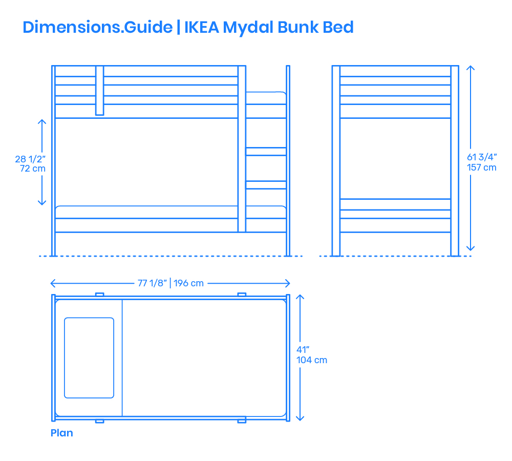 Ikea Mydal Bunk Bed Dimensions Amp Drawings Dimensions Guide