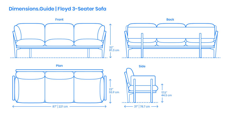 Floyd 3 Seater Sofa Dimensions Drawings Dimensions Guide