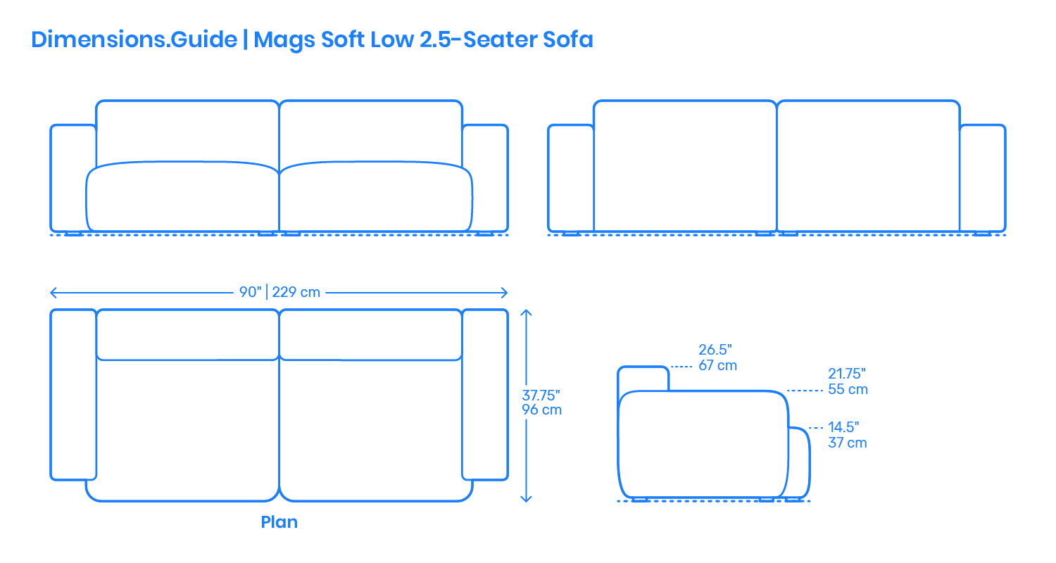 Amazon Com Used Sofas Couches Living Room Furniture >> Mags Soft Low 2.5-Seater Sofa Dimensions & Drawings