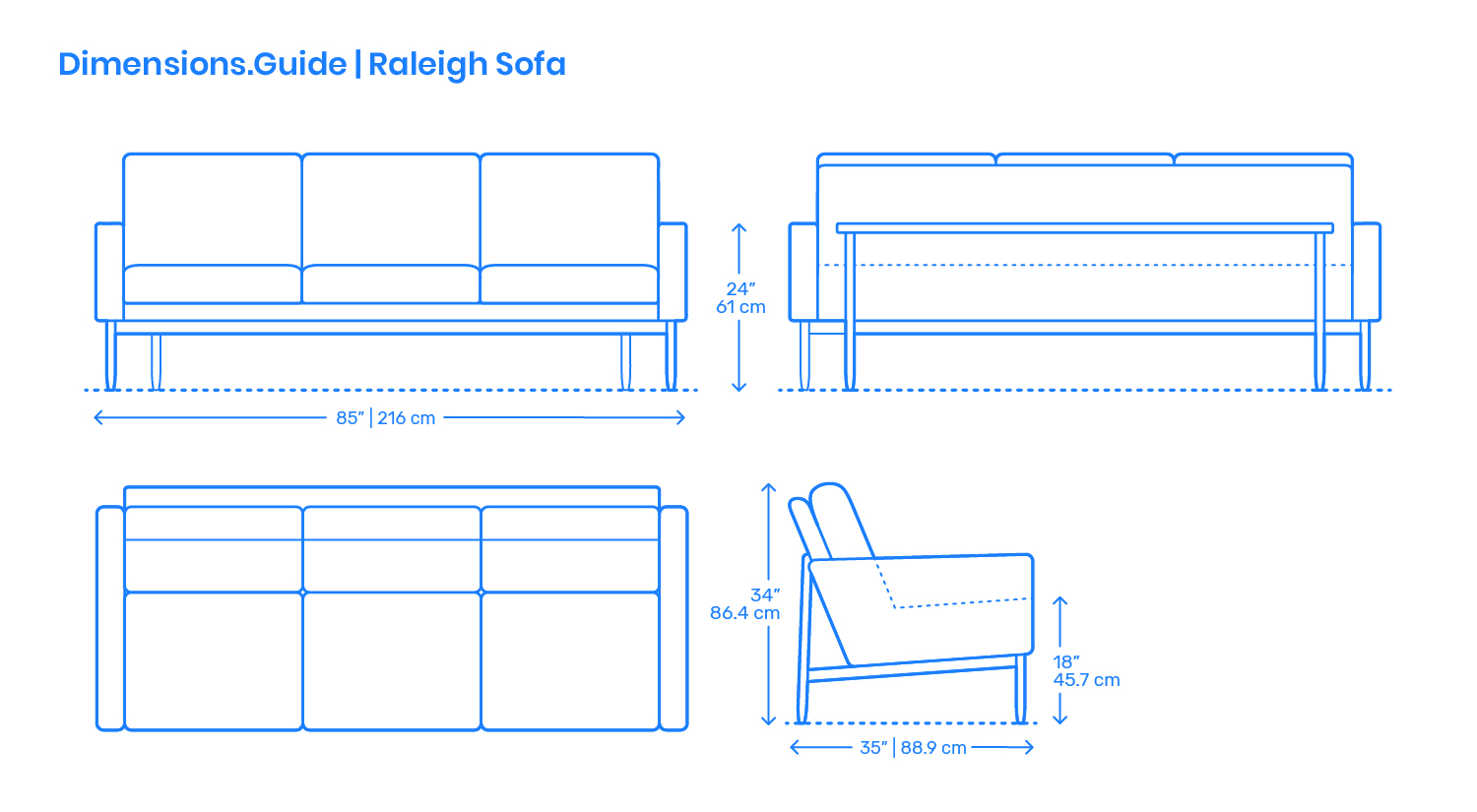 Amazon Com Used Sofas Couches Living Room Furniture >> Raleigh Sofa Dimensions & Drawings | Dimensions.Guide