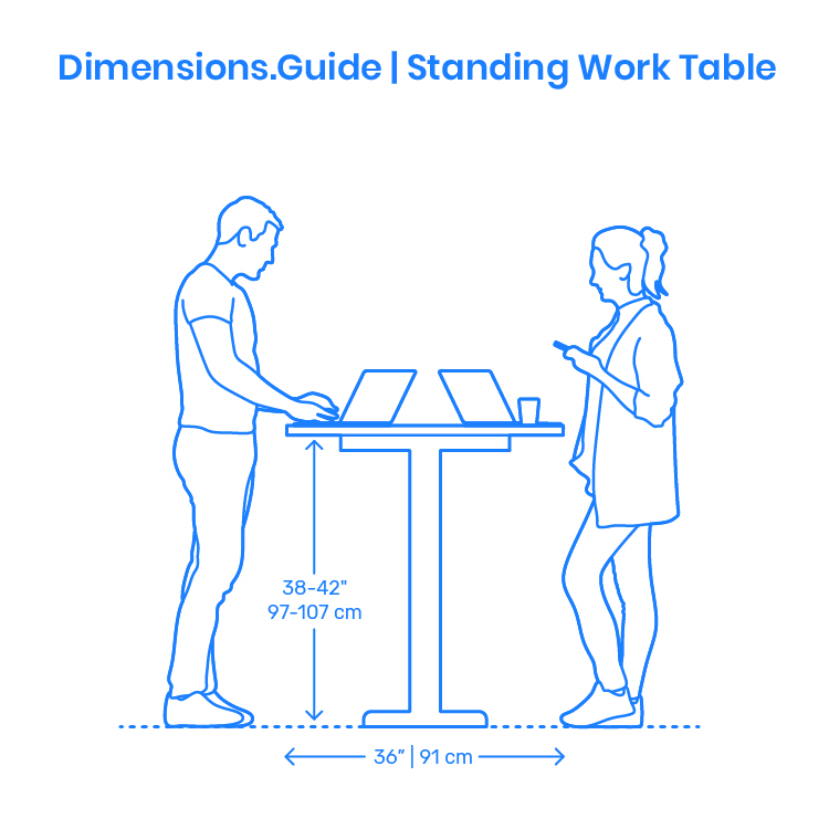 Standing Work Table Dimensions Drawings Dimensions Com