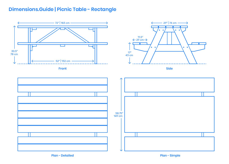 Picnic Table - Rectangular Dimensions & Drawings