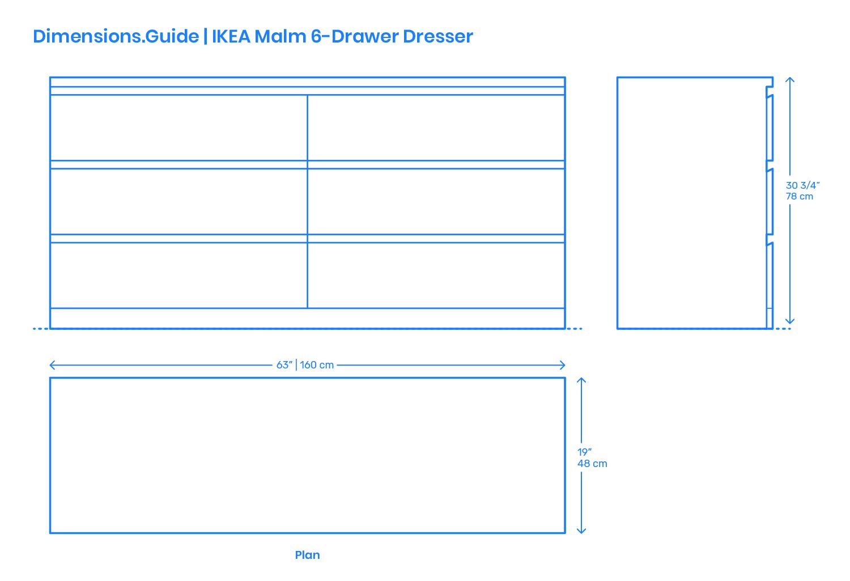 ac320a9cb539 IKEA Malm 6-Drawer Dresser Dimensions & Drawings | Dimensions.Guide