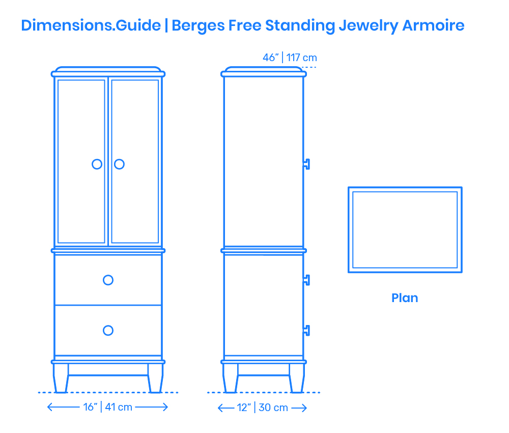 Berges Free Standing Jewelry Armoire Dimensions Drawings Dimensions Com