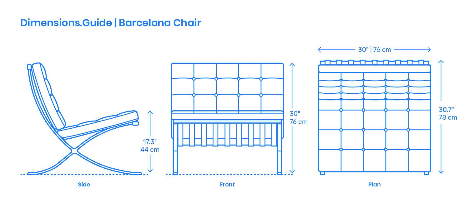 Barcelona Chair Dimensions Amp Drawings Dimensions Guide