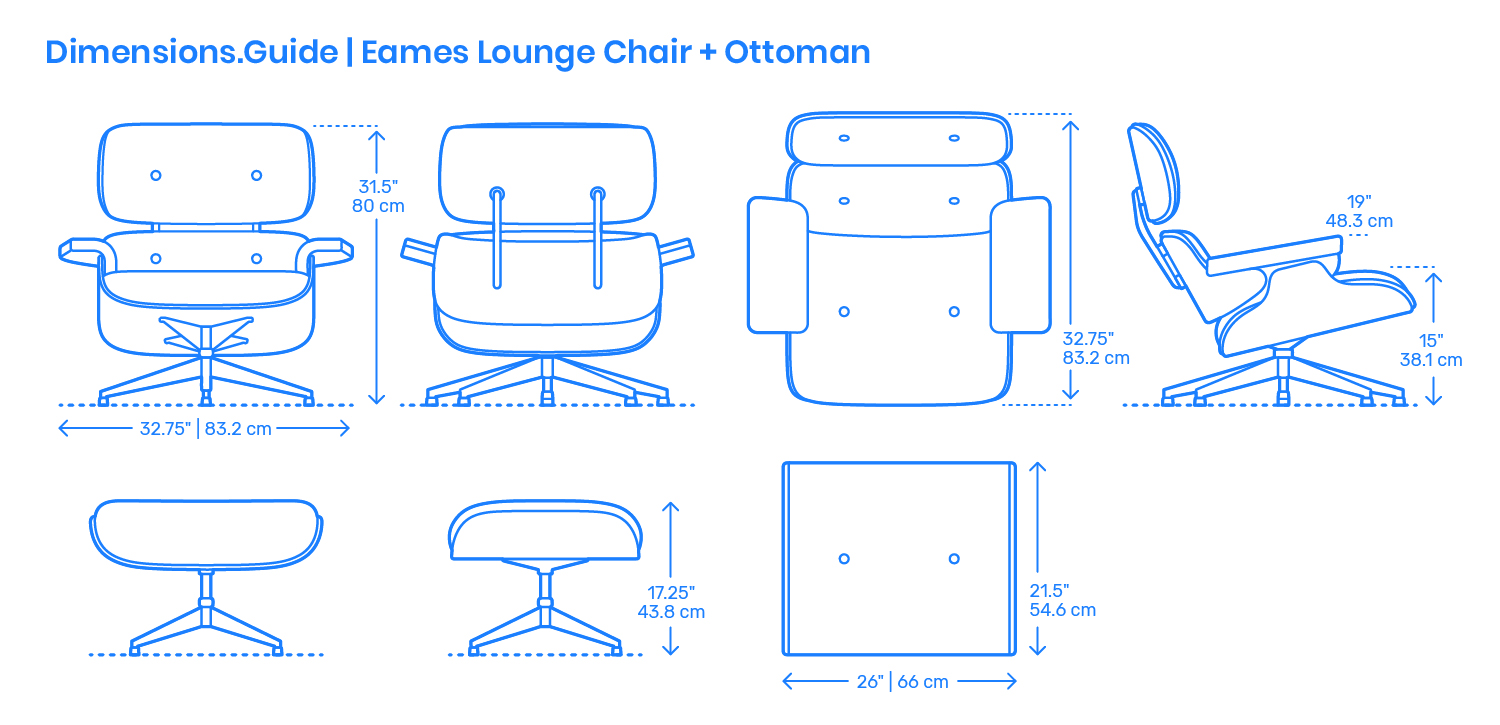Eames Lounge Chair Amp Ottoman Dimensions Amp Drawings