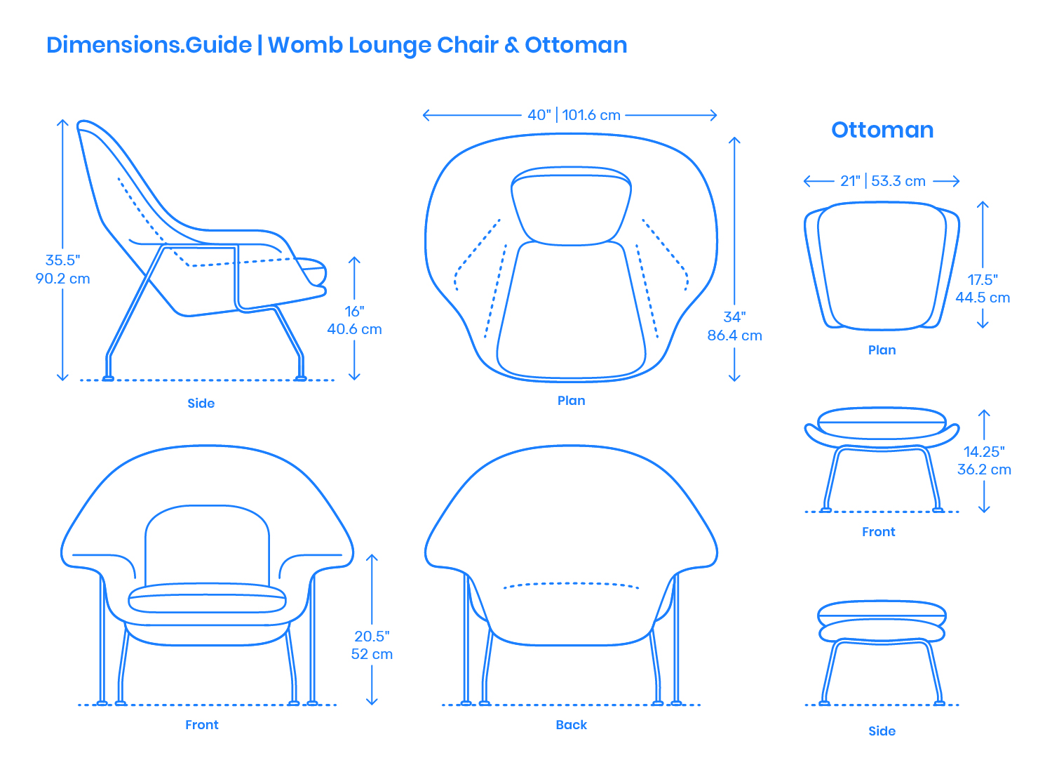 Egg Chair Afmetingen.Womb Chair Ottoman Dimensions Drawings Dimensions Guide