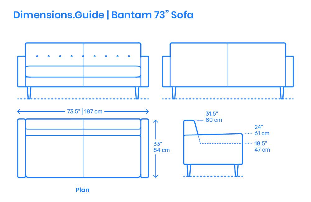 Bantam 73 Quot Sofa Dimensions Amp Drawings Dimensions Guide