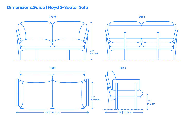 Floyd 2 Seater Sofa Dimensions Drawings Dimensions Guide