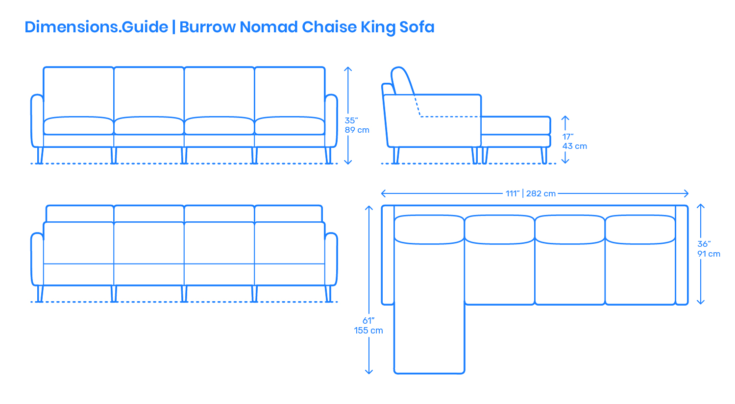 Burrow Nomad Chaise King Sofa Dimensions Amp Drawings