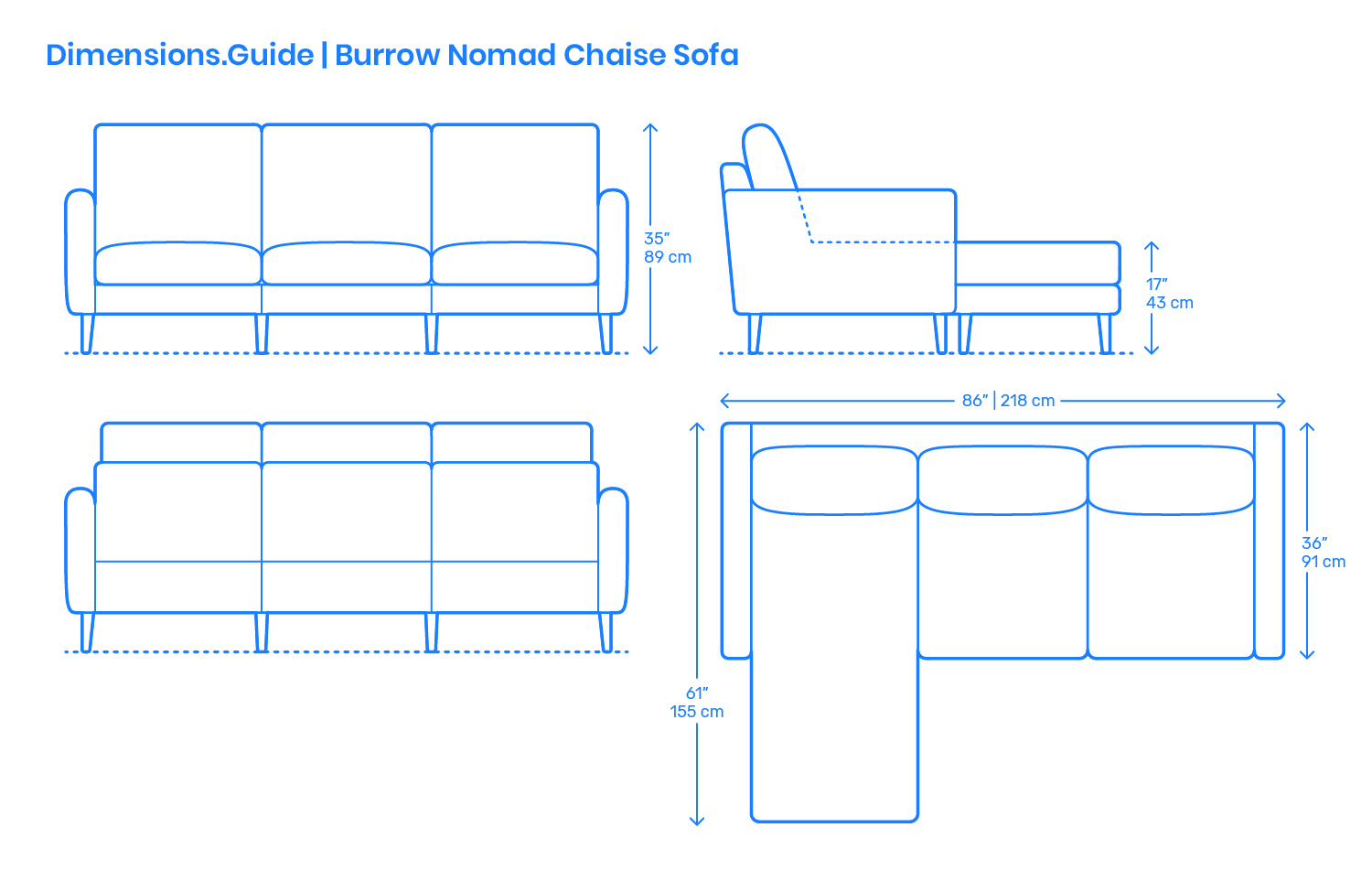 Burrow Nomad Chaise Sofa Dimensions Amp Drawings