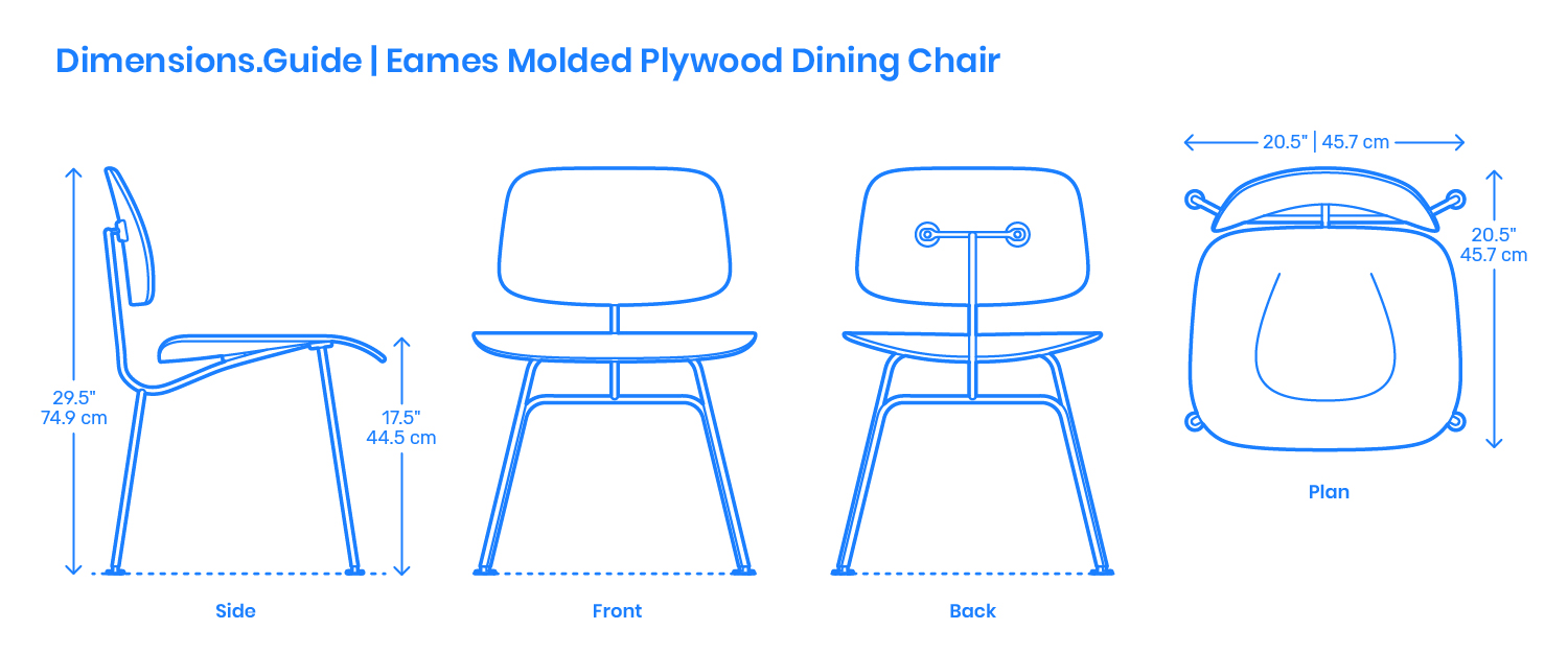 Eames Molded Plywood Dining Chair Dimensions Amp Drawings