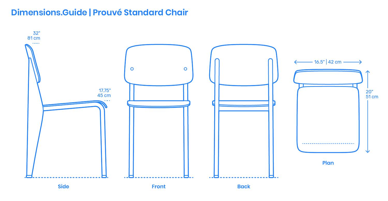Prouvé Standard Chair Dimensions & Drawings  Dimensions.com