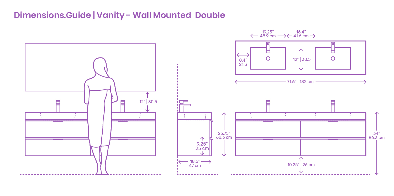 Modern Wall Mounted Double Bathroom Vanity Dimensions Drawings