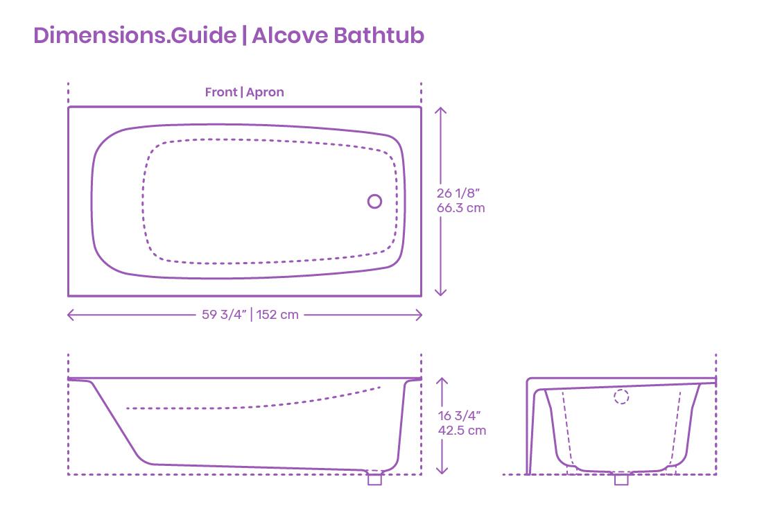 Alcove Bathtubs Dimensions Drawings Dimensions Com