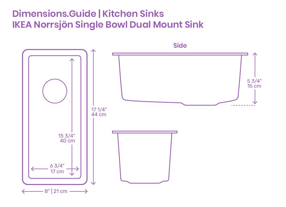 Ikea Norrsjon Single Bowl Dual Mount Kitchen Sink Dimensions Drawings Dimensions Com