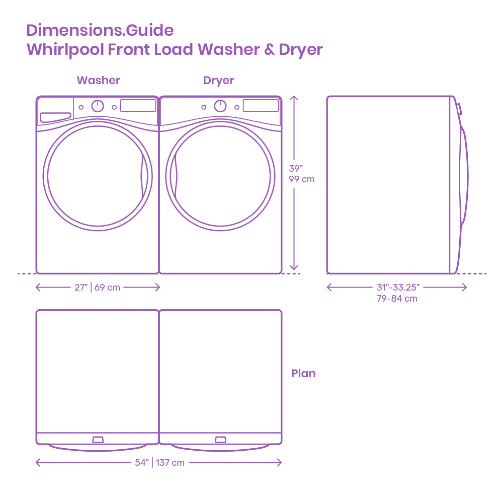 Whirlpool Front Load Washer & Dryer Dimensions & Drawings