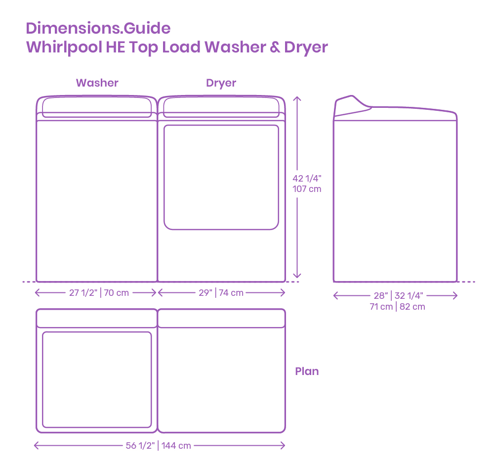 Whirlpool HE Top Load Washer & Dryer Dimensions & Drawings
