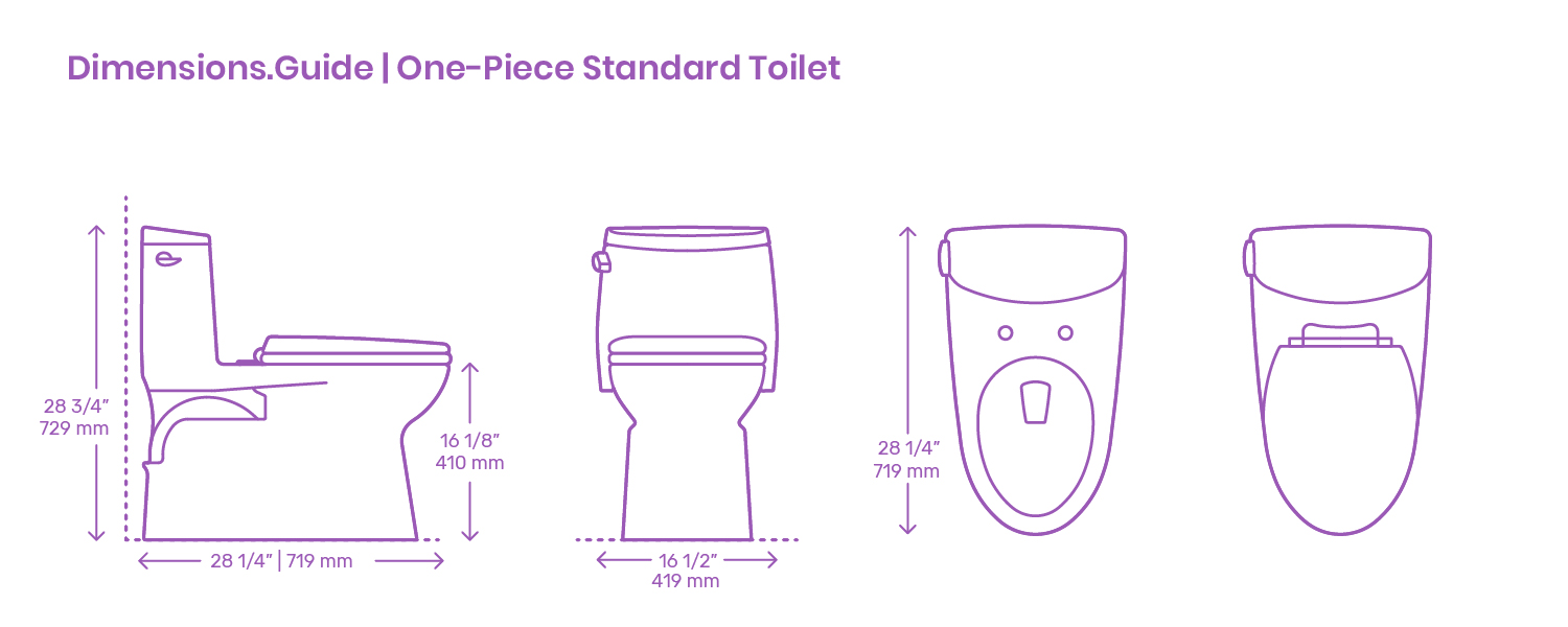 One Piece Standard Toilet Dimensions Drawings Dimensions