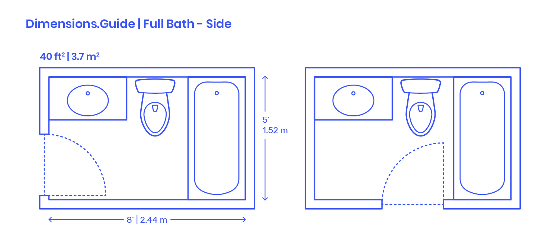 Full Bath Side Dimensions Drawings Dimensions Com