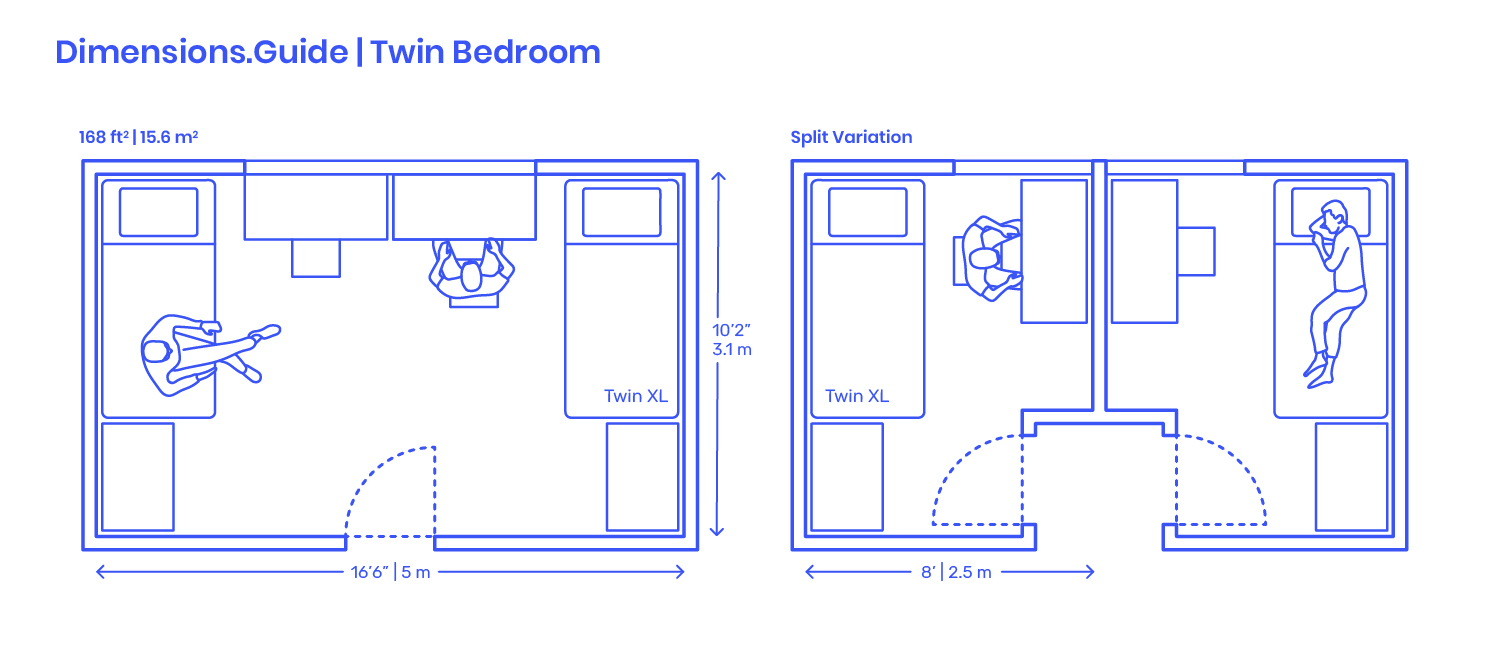 Twin Bedroom Layouts Dimensions Drawings Dimensions Com