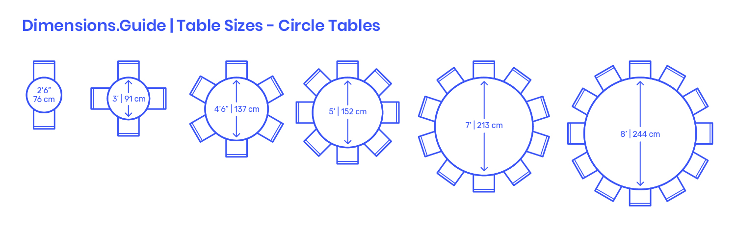 Circle Round Table Sizes Dimensions Drawings Dimensions Com