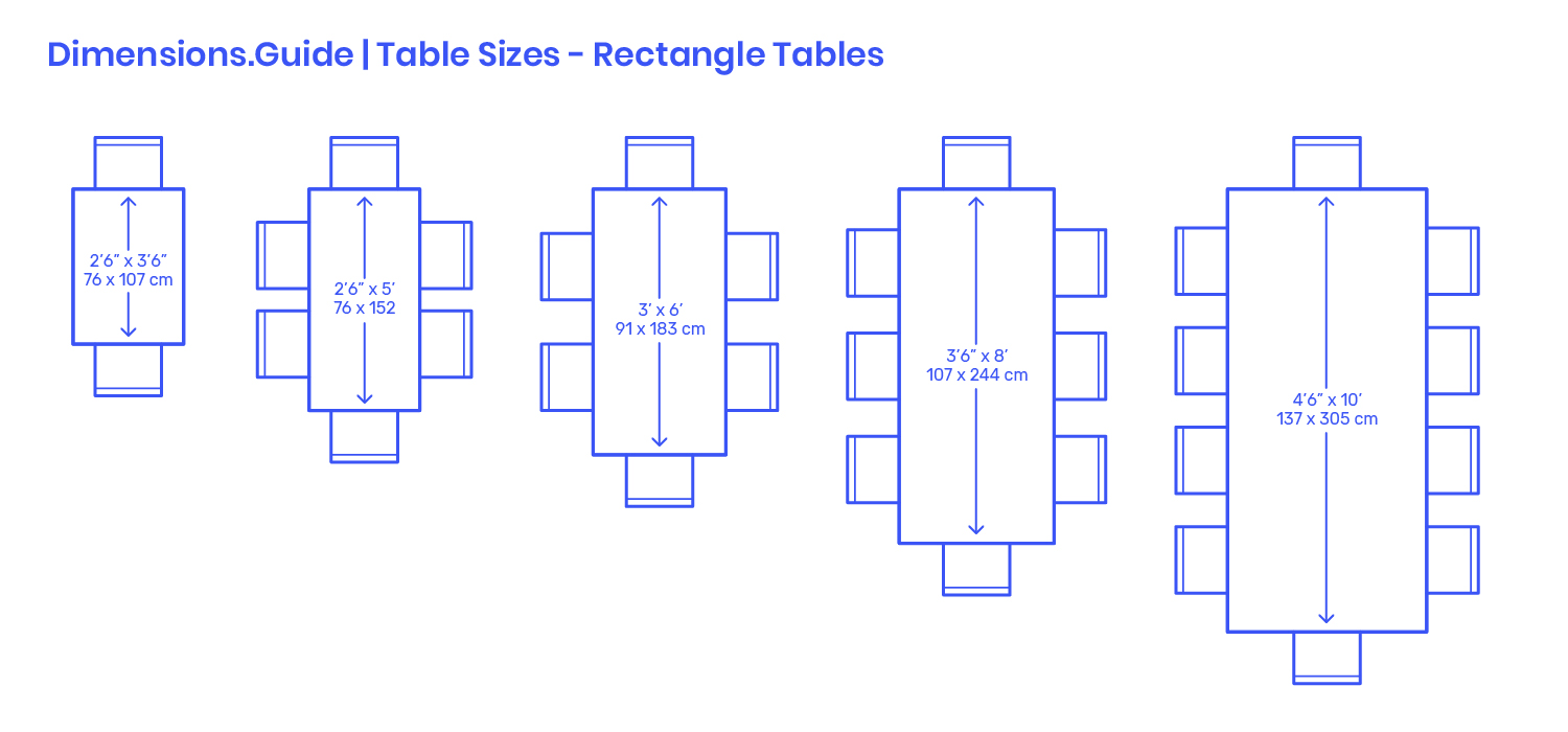 Rectangle Table Sizes Dimensions & Drawings  Dimensions.com