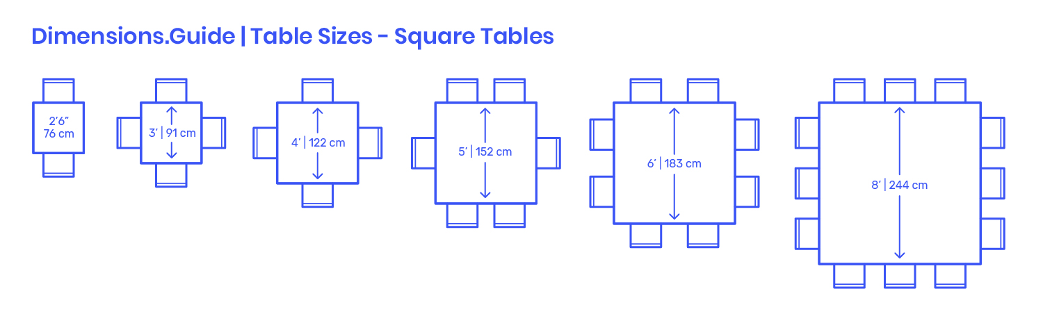 Square Table Sizes Dimensions Drawings Dimensions Com