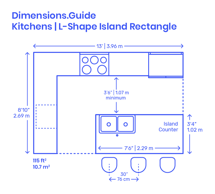 L Shape Island Rectangle Kitchens Dimensions Drawings Dimensions Com