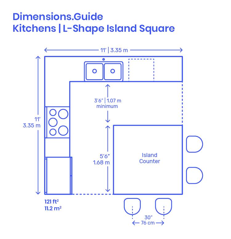 L Shape Island Square Kitchen Dimensions Drawings Dimensions Com