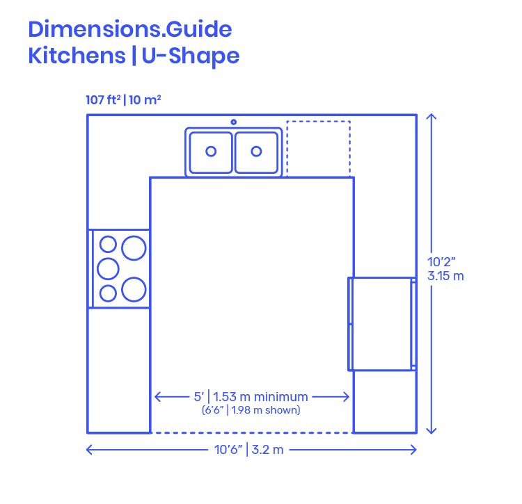 U Shape Kitchen Dimensions Drawings Dimensions Com