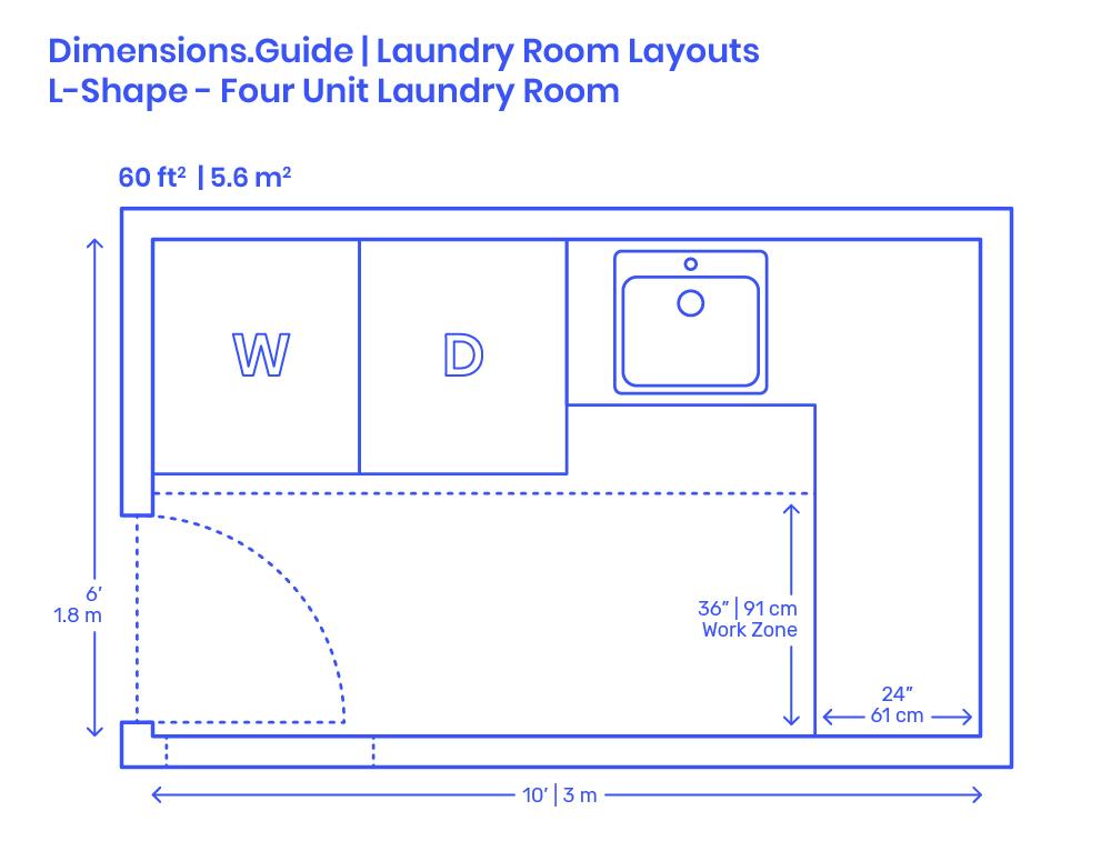 L Shape Four Unit Laundry Room Layout Dimensions Drawings Dimensions Com