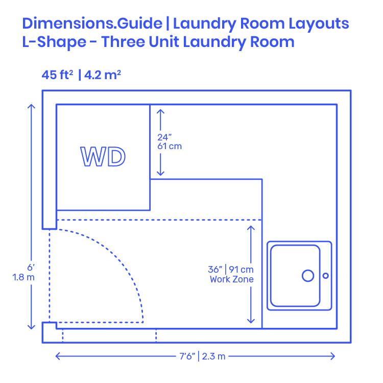 L Shape Three Unit Laundry Room Layout Dimensions Drawings Dimensions Com