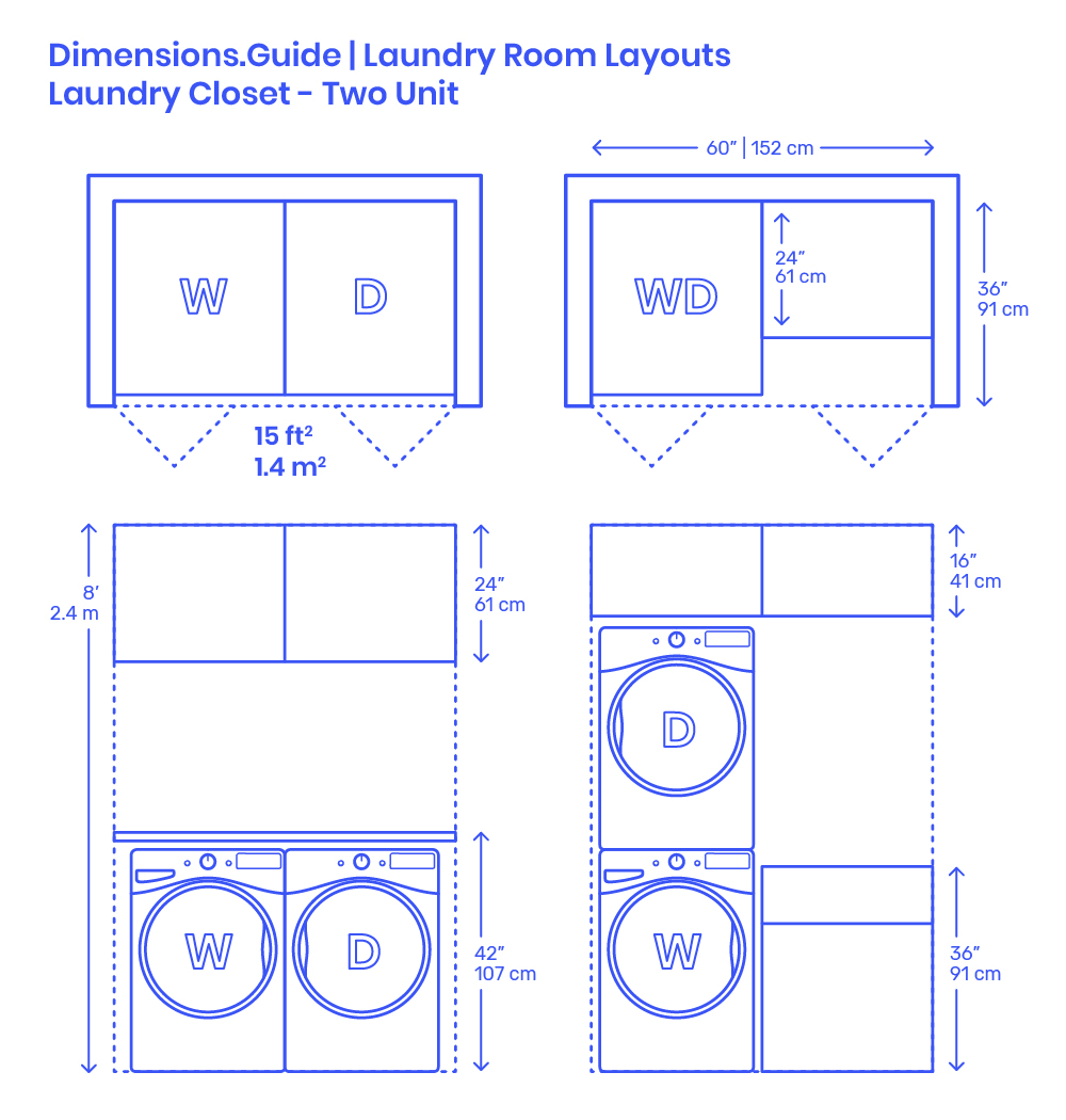 Laundry Closet Two Unit Layout Dimensions Drawings Dimensions Com