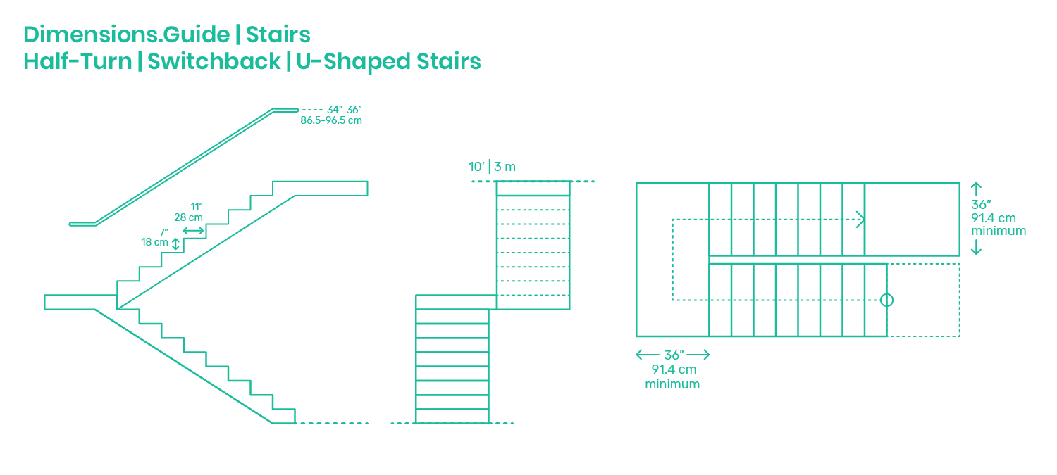 Half Turn Switchback U Shaped Stairs Dimensions Drawings Dimensions Com