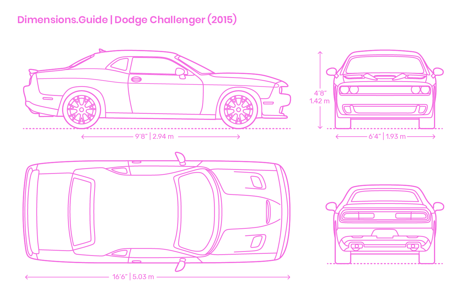 Dodge Challenger 2015 Dimensions Drawings Dimensions Com