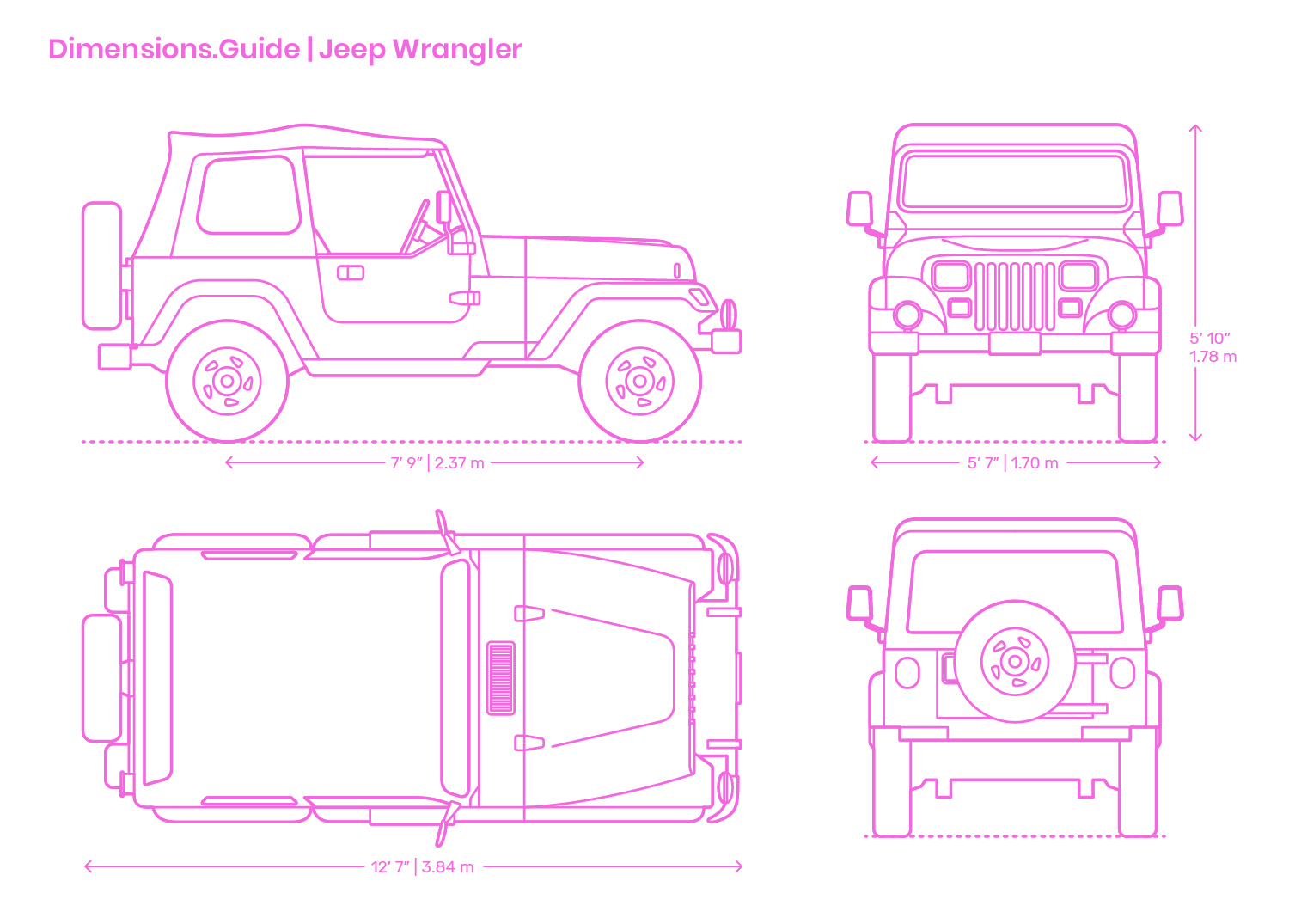 Jeep Wrangler Dimensions Amp Drawings Dimensions Guide