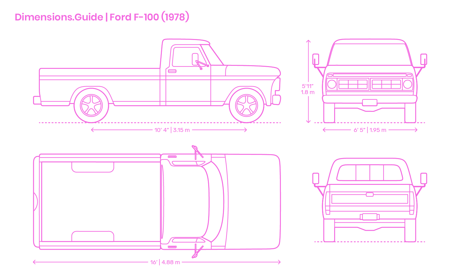 Ford F 100 1976 Dimensions Drawings Dimensions Com