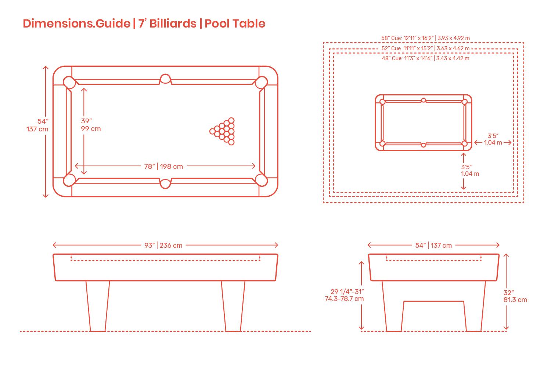 7 Foot Billiards | Pool Table Dimensions & Drawings | Dimensions.comDimensions