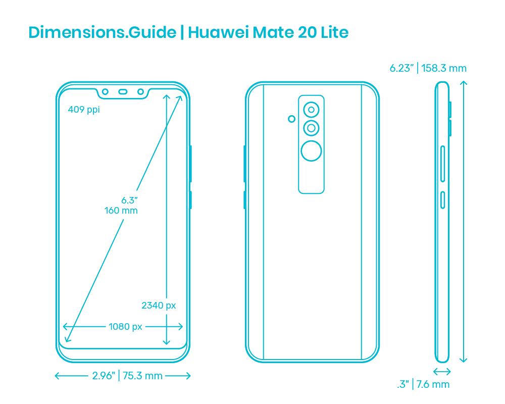 Huawei Mate 20 Lite 20 Dimensions & Drawings   Dimensions.com