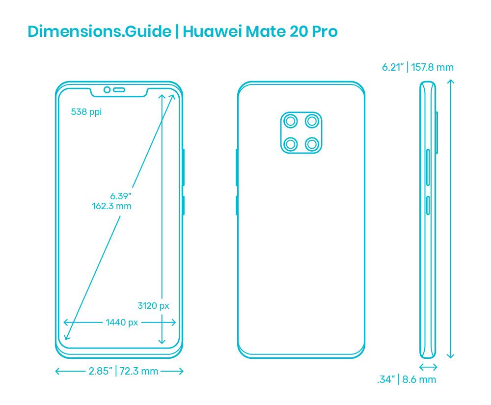 Huawei Mate 20 Pro 20 Dimensions & Drawings   Dimensions.com