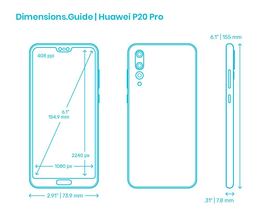 Huawei P20 Pro 20 Dimensions & Drawings   Dimensions.com