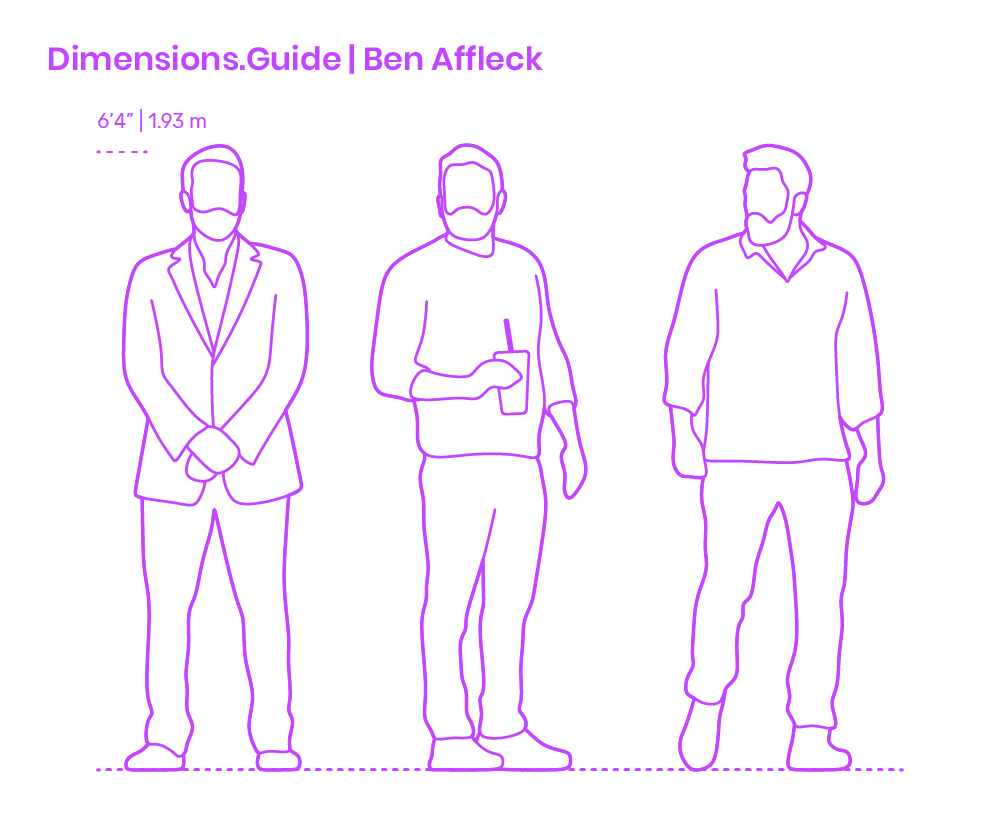 Ben Affleck Dimensions Drawings Dimensions Com This means ben affleck's height is higher than the heights of 93.26% of the people in our system. ben affleck dimensions drawings