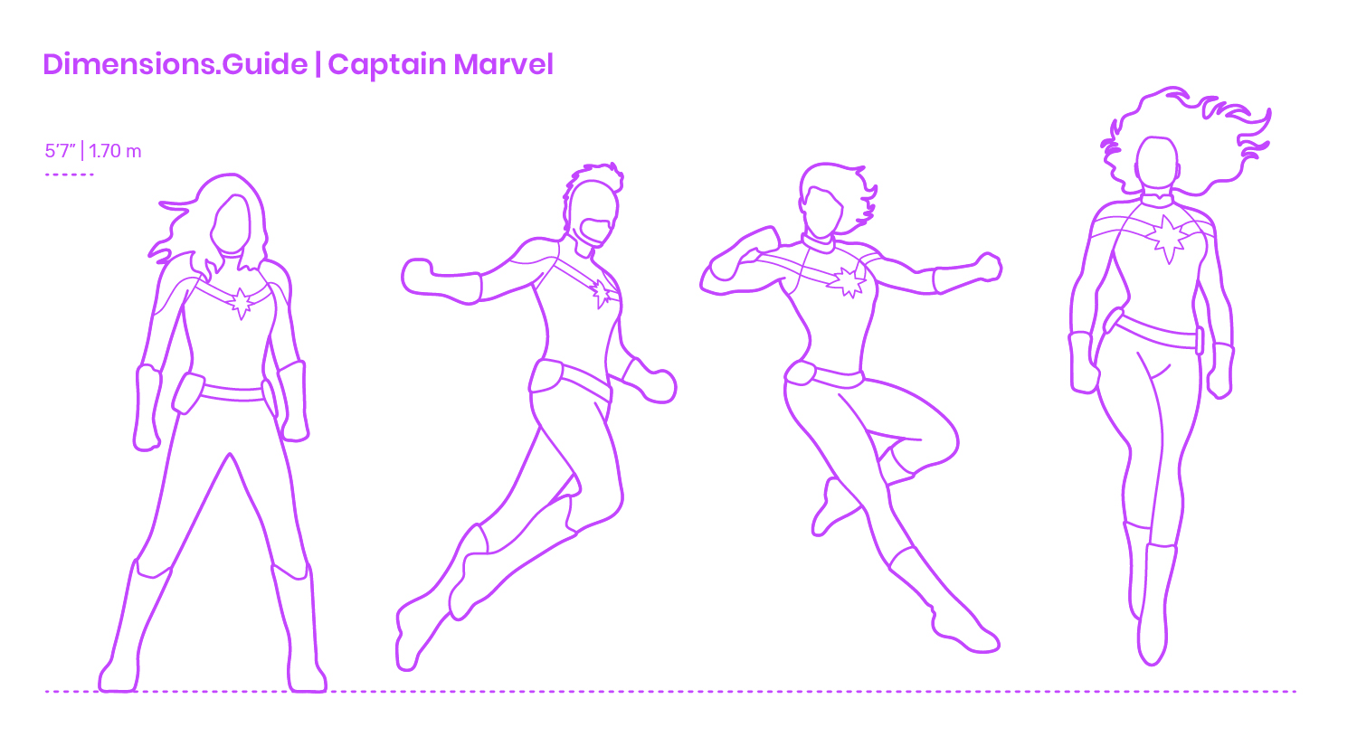 Captain Marvel Dimensions & Drawings   Dimensions Guide